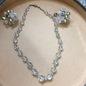Midcentury glass beaded necklace & clip  earrings